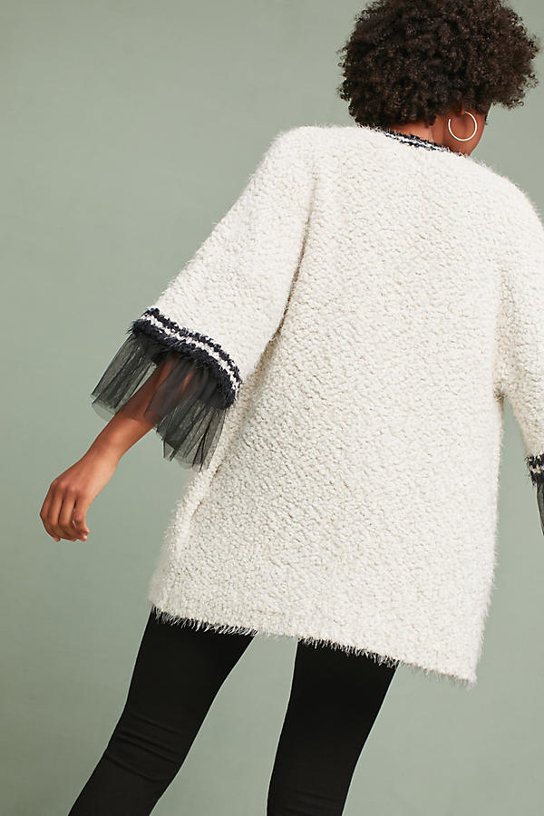 Slide View: 3: Tulle-Trimmed Cardigan