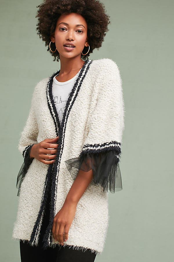 Tulle-Trimmed Cardigan - Ivory, Size L