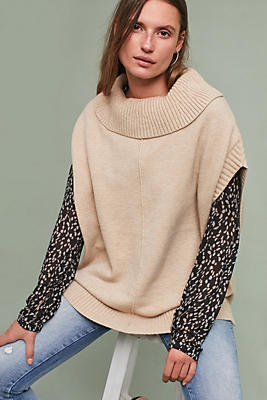 Slide View: 1: Turtleneck Poncho Pullover