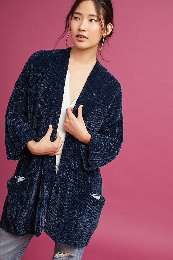 Lily Chenille Cardigan - Navy, Size Xl