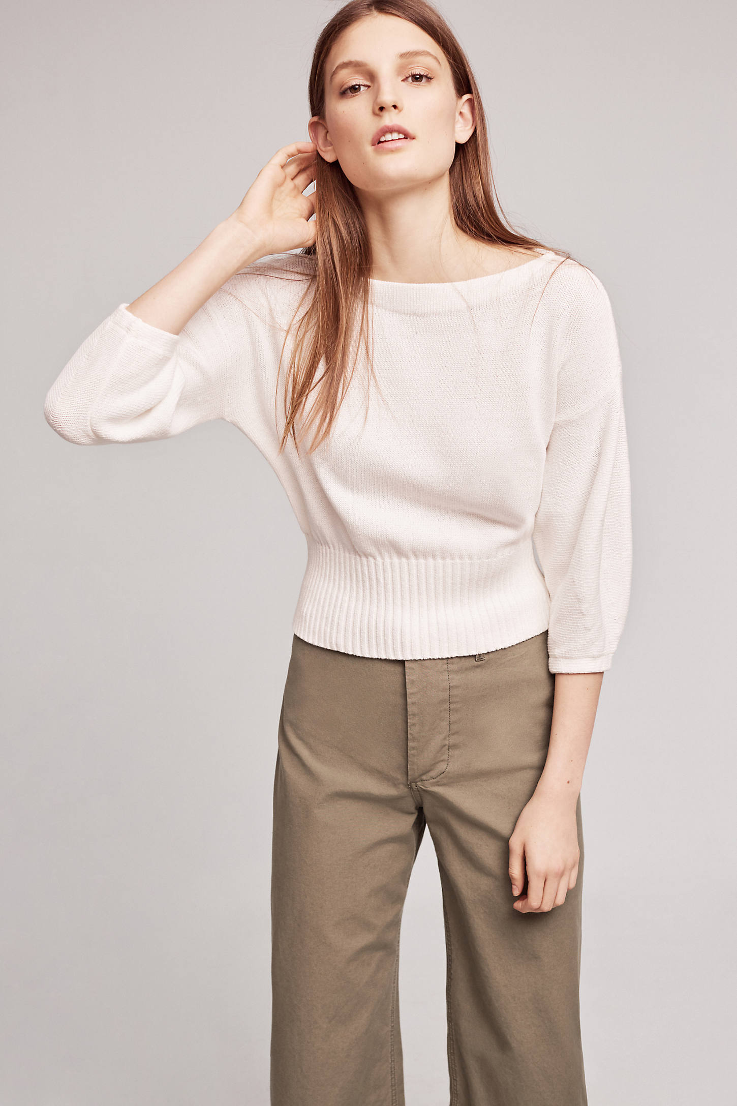 Cropped Balloon-Sleeve Pullover