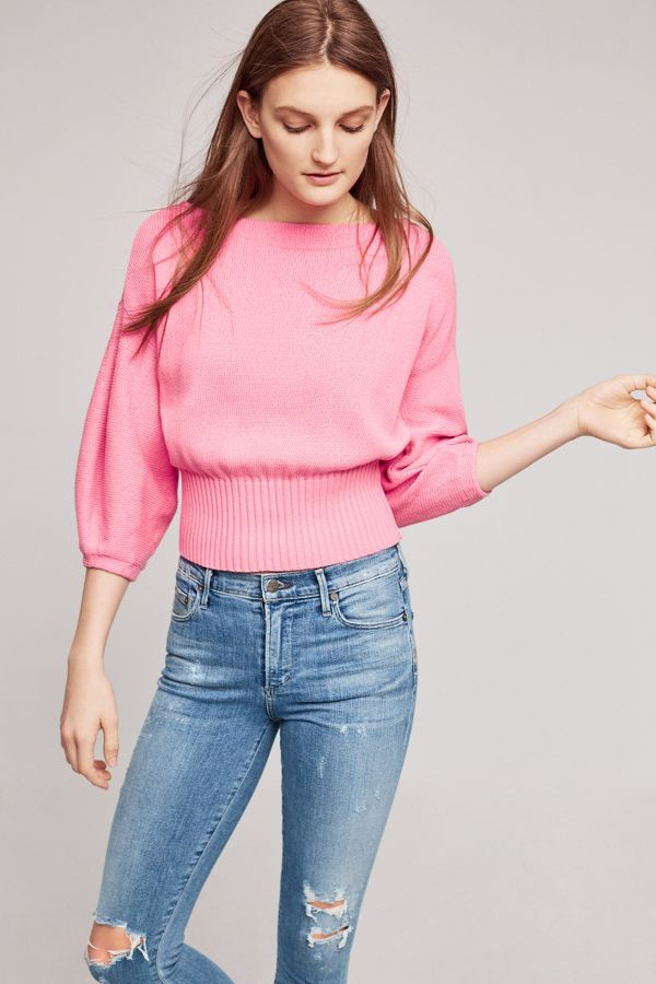 Knitted & Knotted Cropped Balloon-Sleeve Pullover