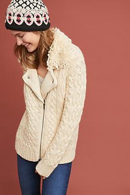 Slide View: 1: Mixed-Yarn Sweater Jacket