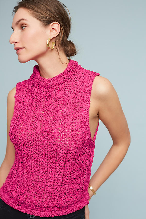 Slide View: 1: Cabled Knit Shell