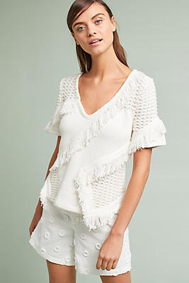 Slide View: 1: Kurie Fringed Pullover