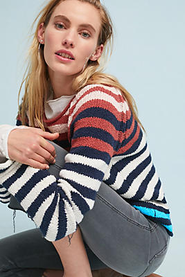 Slide View: 1: Striped Bell-Sleeved Pullover