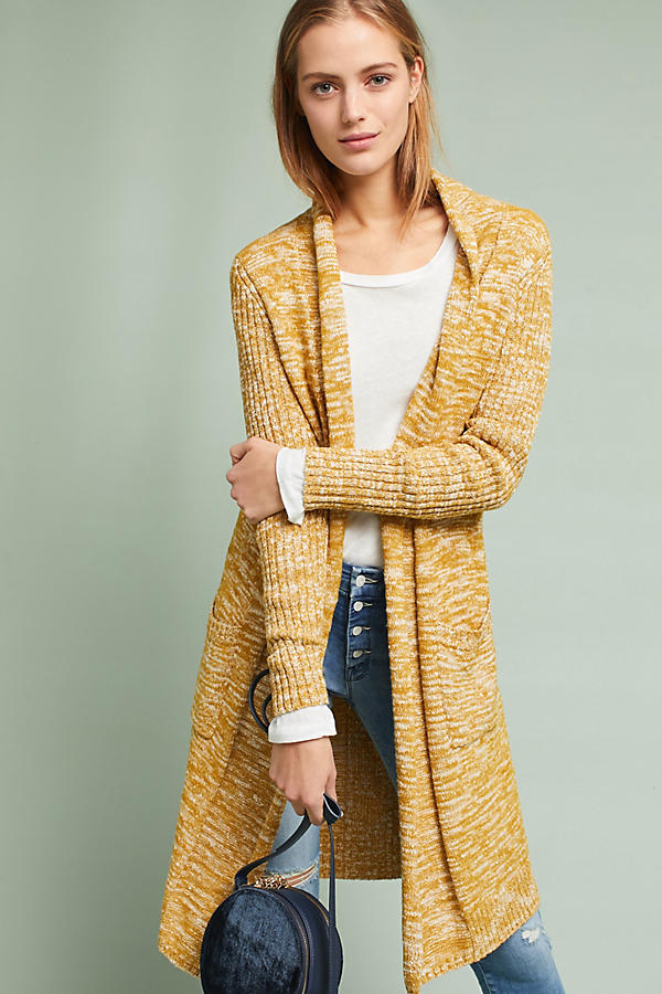 Abigail Yellow Marled Cardigan Sweater at Anthropologie