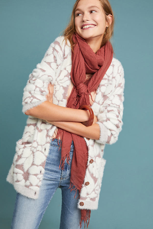 Floral Eyelash Cardigan - White, Size Xs