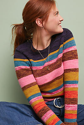 Slide View: 1: Leive Striped Sweater