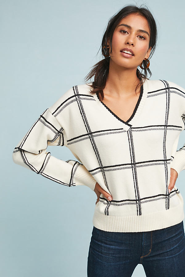 Windowpane Intarsia Jumper - White, Size Xs