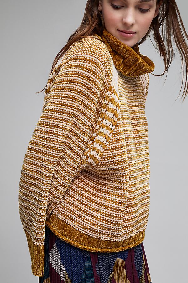 Serena Oversized Chenille Striped Jumper - Gold, Size L