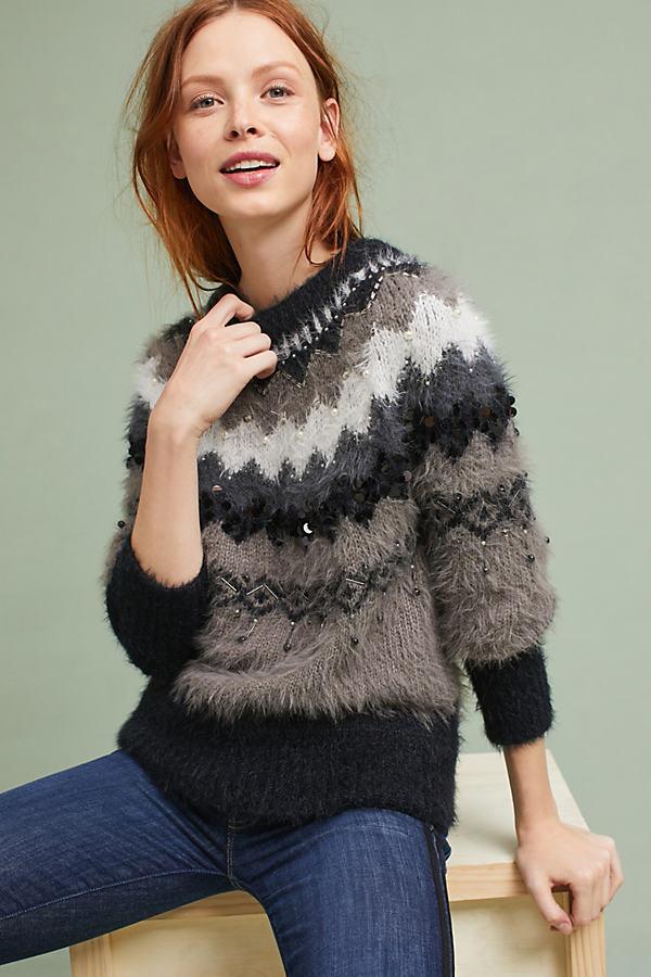 Anat Fairisle Bubble Sleeve Sweater - Grey, Size M