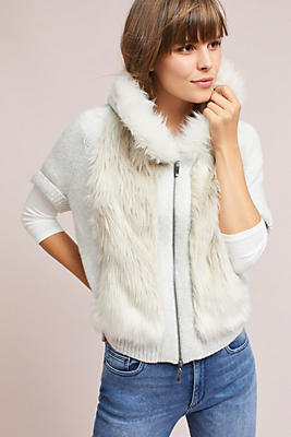 Slide View: 1: Hooded Faux Fur Sweater