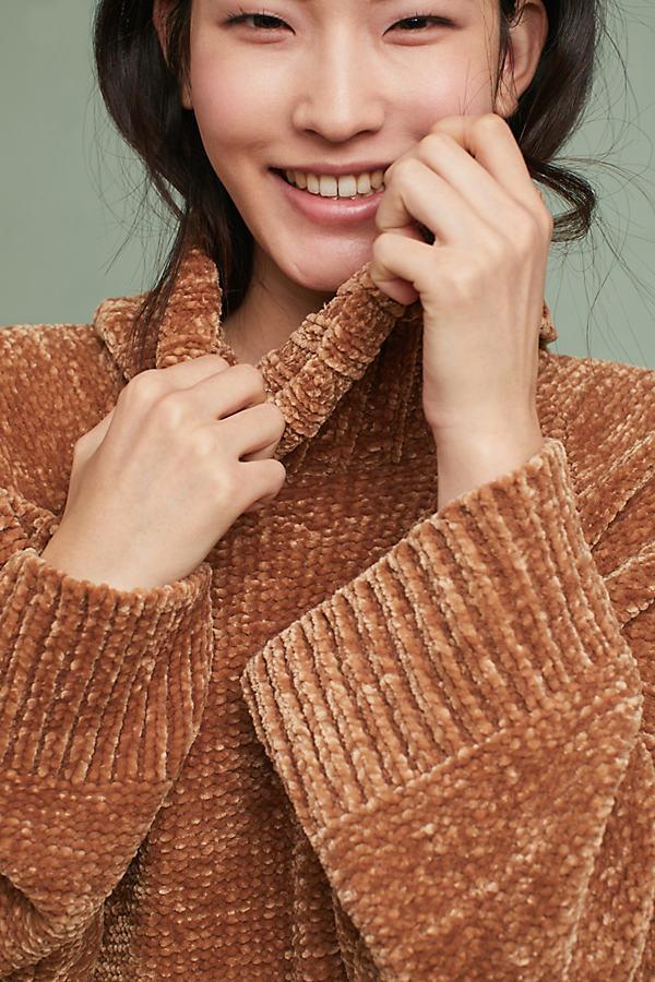 Benilda Chenille Turtleneck Tunic - Khaki, Size Xs
