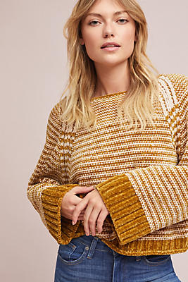 Slide View: 1: Oversized Chenille Striped Pullover