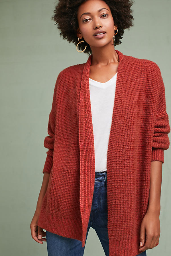 Julienne Textured Drop Sleeve Cardigan - Cedar, Size S