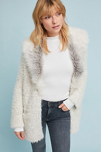 Faux Fur-Collared Cardigan