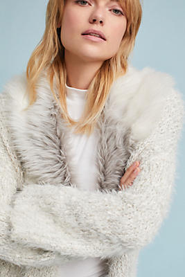 Slide View: 1: Faux Fur-Collared Cardigan