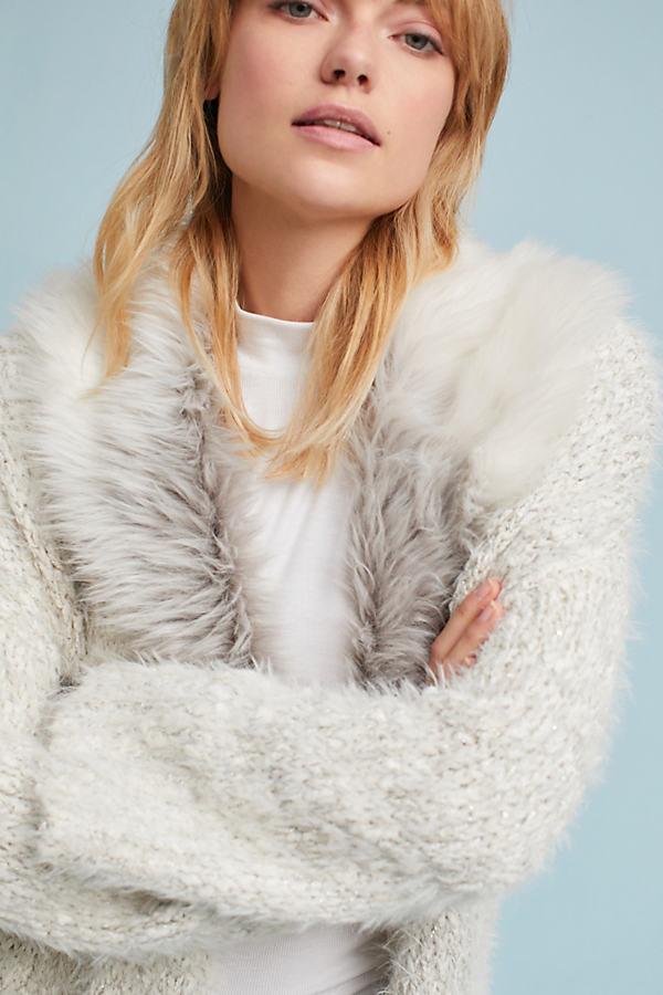 Venla Faux Fur Collar Cardigan - Ivory, Size M