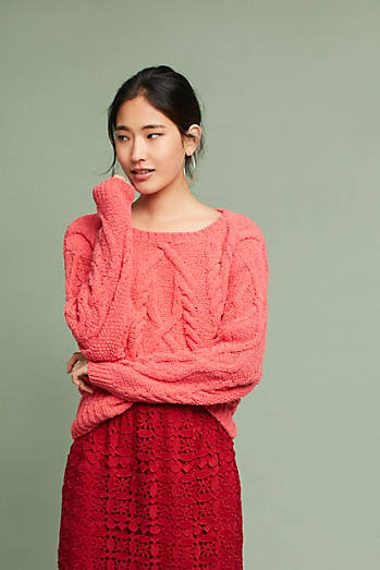 Cabled Chenille Pullover