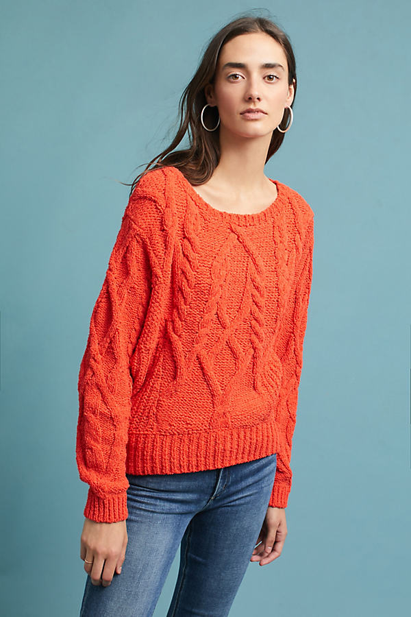 Adaia Chenille Cable Knit Jumper - Orange, Size M