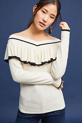 Slide View: 1: Ruffled Off-The-Shoulder Pullover