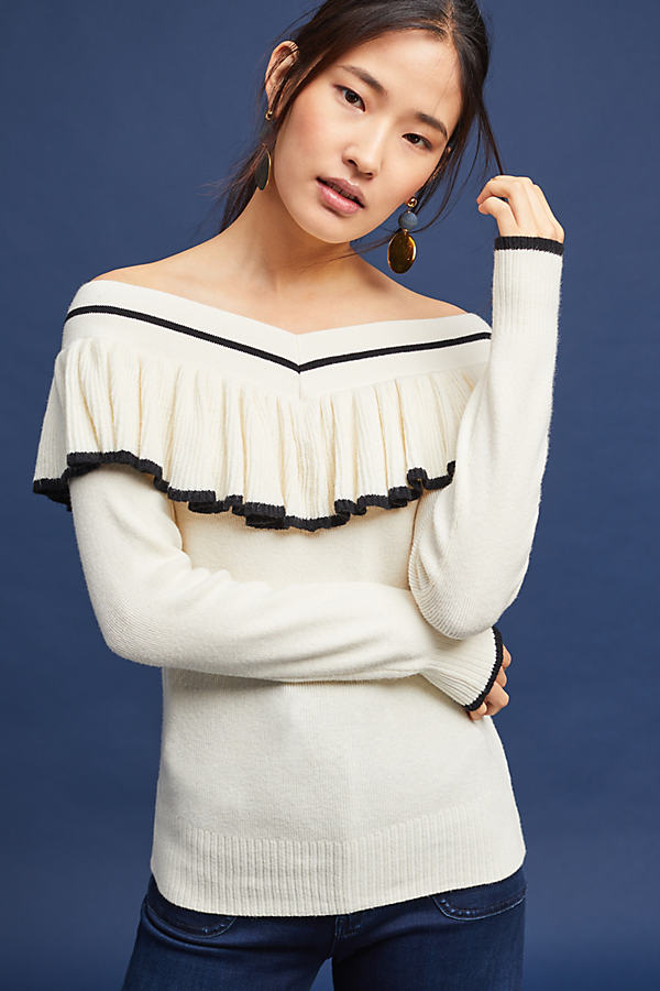 Sonia Off-The-Shoulder Top, Ivory - Ivory, Size M