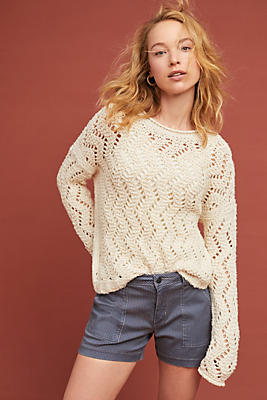 Slide View: 1: Sable Pointelle Pullover