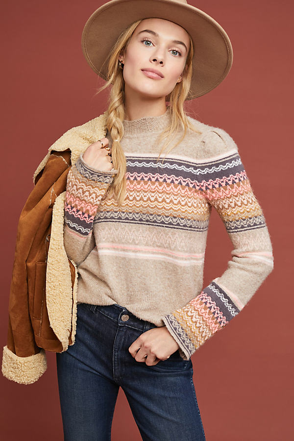 Fargo Fair Isle Sweater - Pink, Size L
