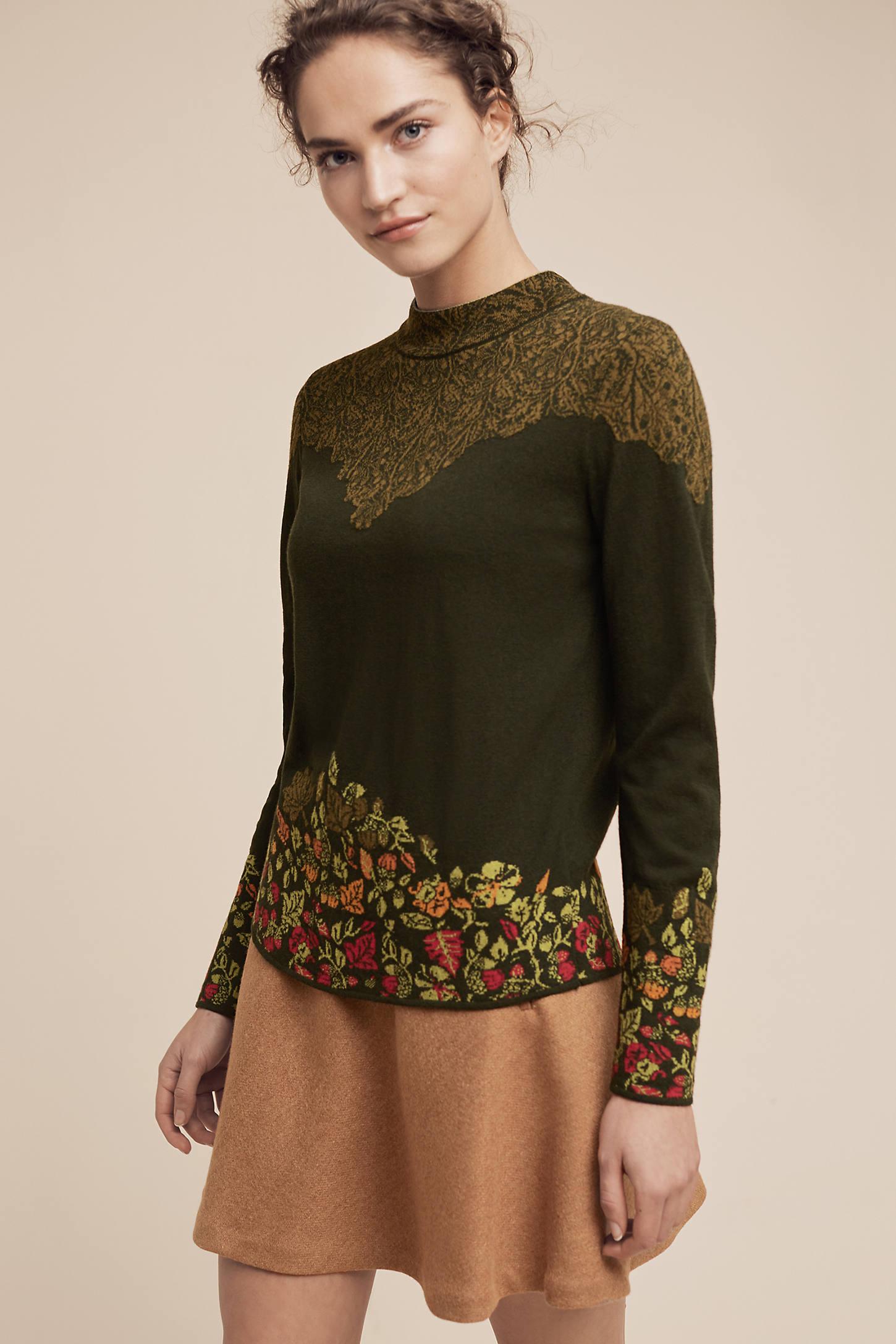Intarsia-Bordered Pullover