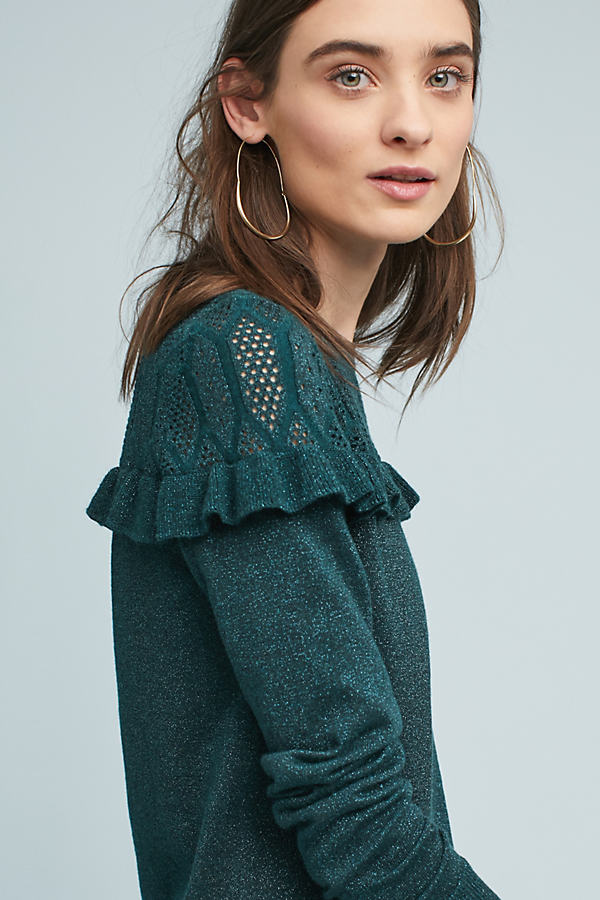 Yedda Ruffled Jumper - Green, Size Xs