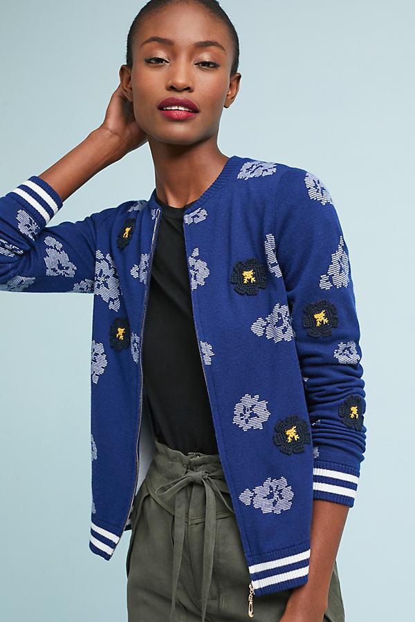 Floral Bomber Jacket - Blue, Size Xs