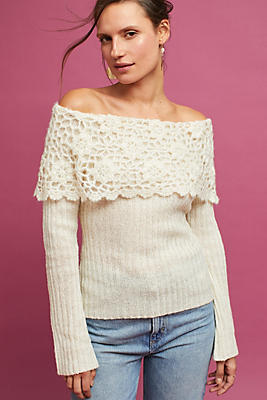 Slide View: 1: Crocheted Off-The-Shoulder Pullover