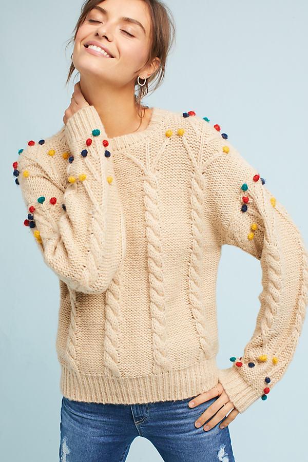 Ceris Pom-Pom Jumper, Cream - Cream, Size M