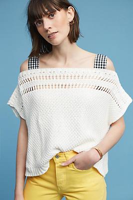 Slide View: 2: Gingham Ribbon-Sleeve Sweater
