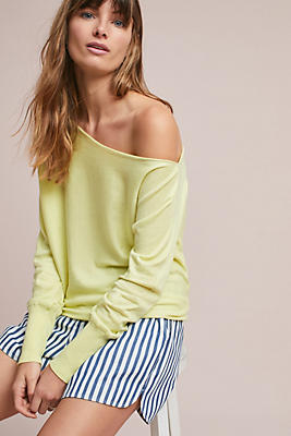 Slide View: 1: Draped Off-The-Shoulder Pullover