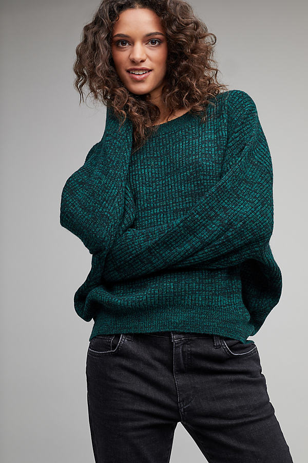 Eliisa Ribbed Sweater - Green, Size L