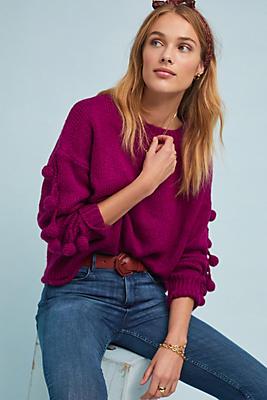 Slide View: 1: Winterberry Pommed Sweater
