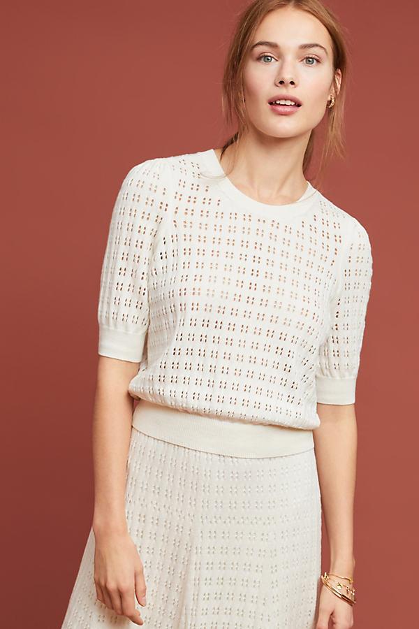 Cadenza Pointelle Sweater - White, Size L