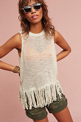 Slide View: 1: Fringed Sweater Tank