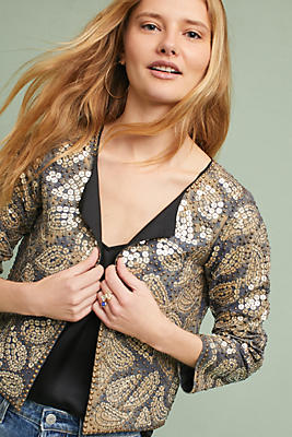 Slide View: 1: Sequined Paisley Jacket