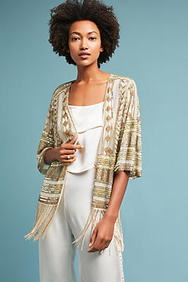 Slide View: 1: Beaded Fringe Kimono Jacket