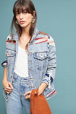 Slide View: 1: Textured Fringe Denim Jacket