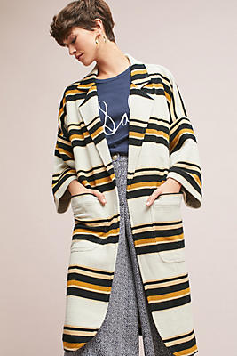Slide View: 1: Striped Cocoon Jacket