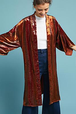 Longline Velvet Kimono Jacket | Anthropologie