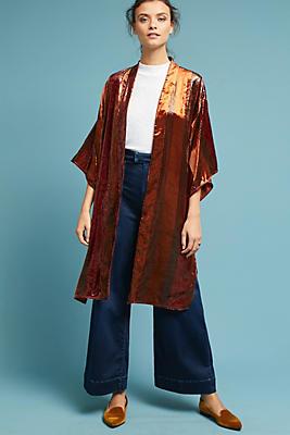 Slide View: 1: Longline Velvet Kimono Jacket