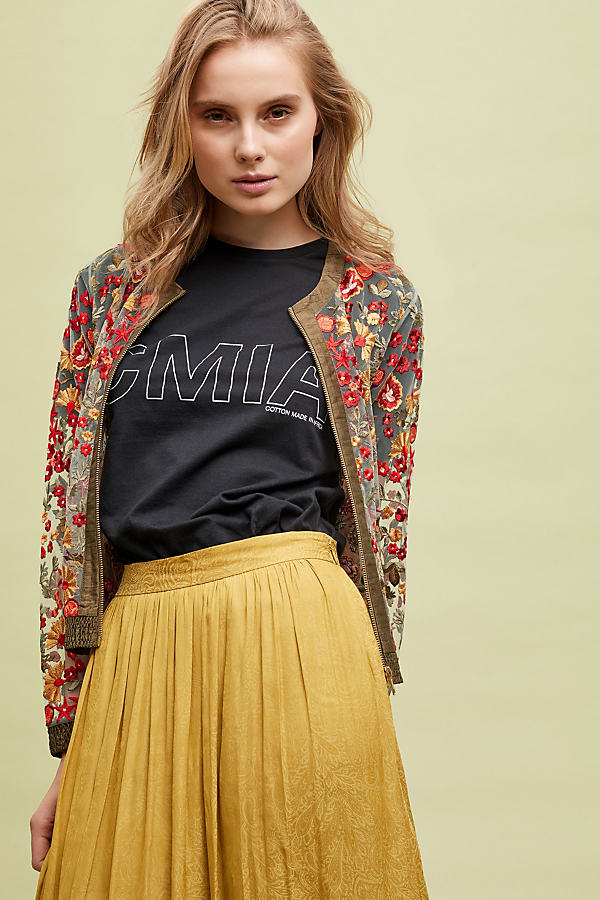 Canyon Embroidered-Mesh Bomber Jacket - Green, Size Uk 10