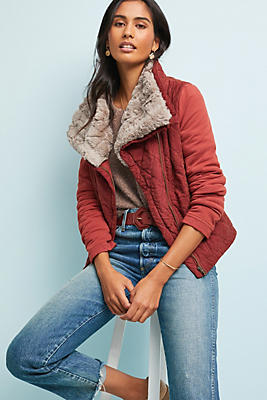Slide View: 1: Quilted Aviator Jacket