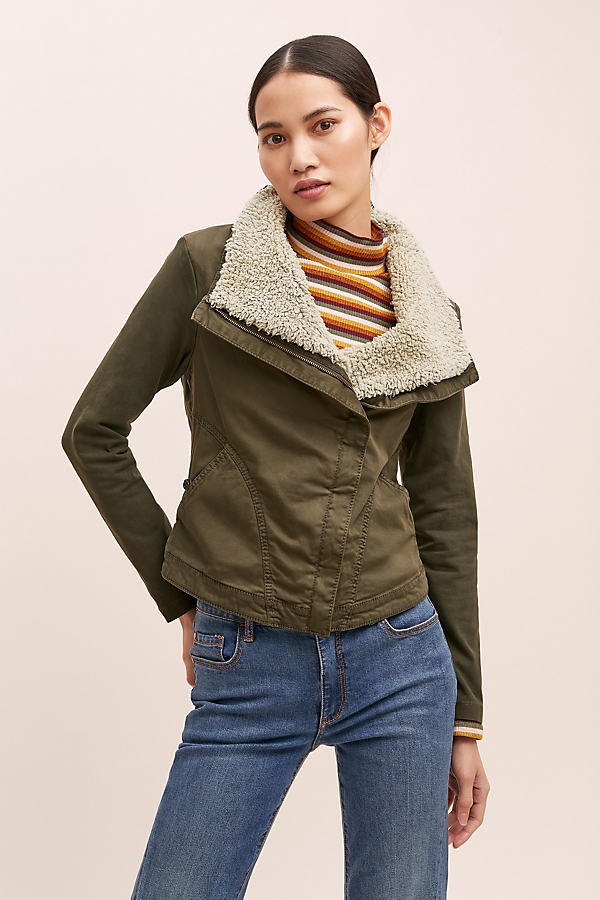 Oversized Sherpa Collar Jacket - Green, Size S