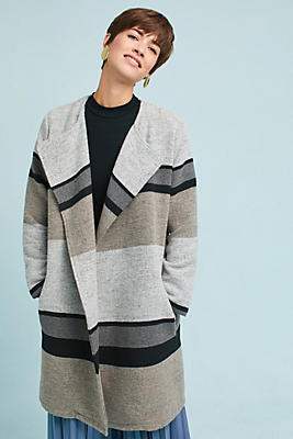 Slide View: 3: Striped Sweater Jacket